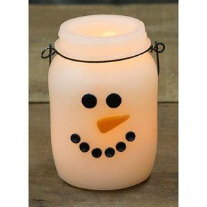 Snowman Jar Shaped LED Battery Powered Candle with